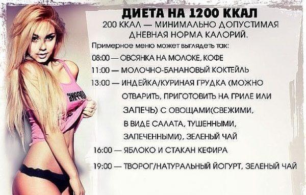 Меню на 1200 ккал в день на неделю